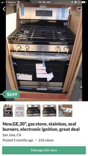 "New,30"",GE gas stove, stainless , seal burners, good price for Sale in San Jose, CA"