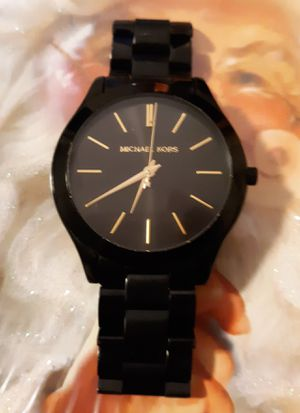 Excellent Condition Michael Kors Slim Black Unisex Watch with Gold Numbering for Sale in Summerville, SC