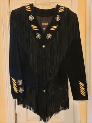 Women's size small black suede fringe leather coat for Sale in High Point, NC