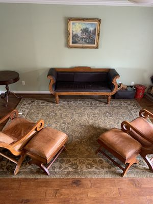 Leather couch and Camel leather chairs for Sale in Rancho Cucamonga, CA