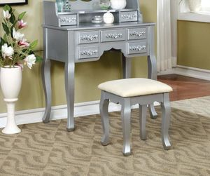 Vanity with Padded Stool and Storage Drawers - Silver for Sale in Chino, CA