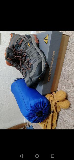 Steel-Toed Boots (waterproof) + FREE Sleeping Bag & Throw Blanket! for Sale in Houston, TX