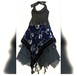 Black/blue velvet halter dress for Sale in Colesville, MD