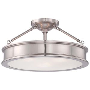 H.D.C. 3-Light Brushed Nickel Semi-Flush Mount with Clear/Frosted Glass for Sale in Dallas, TX