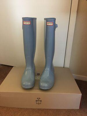 100% Authentic Brand New in Box Hunter Original Tall Gloss Rain Boots / Color Pale Blue / Women size 7 for Sale in Pleasant Hill, CA