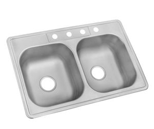Drop-In Stainless Steel 33 Inch 4-Hole Double Bowl Kitchen Sink - New! for Sale in Plainfield, IL