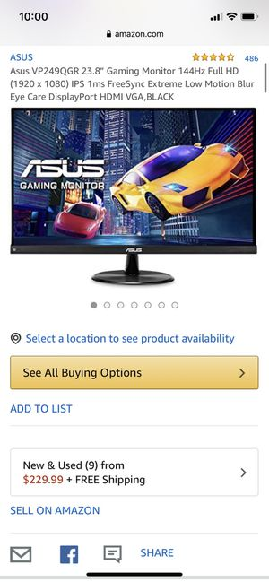 "Asus 144hz 23.8"" gaming monitor for Sale in Chino, CA"