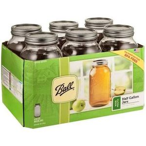 Ball mason half gallon jars with lids 6 pack 64 oz wide mouth for Sale in Santa Ana, CA