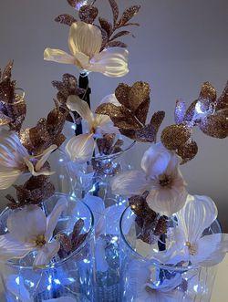 Rose Gold Silk Flowers Glass Vase Led Lights for Sale in Herndon,  VA