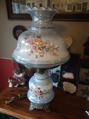 Antique Set of Hurricane Glass Large Table Lamps for Sale in Savona, NY