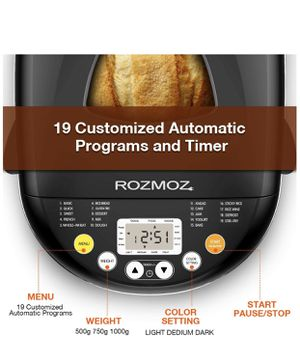 Bread Maker, ROZMOZ 19-in-1 Stainless Steel Bread Machine for Sale in Moreno Valley, CA