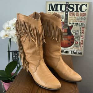 Alcala's Chicago Tan Fringed Womens Cowgirl Leather Boots for Sale in Elk Grove Village, IL