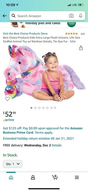 Best Choice Products Kids Extra Large Plush Unicorn, Life-Size Stuffed Animal Toy w/ Rainbow Details, Tie-Dye Fur - 52in for Sale in Columbus, OH