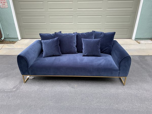 Mid-Century Modern Blue Velvet Sofa by Article Furniture for Sale in ...
