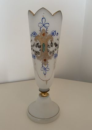 """Ornate Frosted Opaline Glass Vase 11"""" Tall for Sale in Framingham, MA"""
