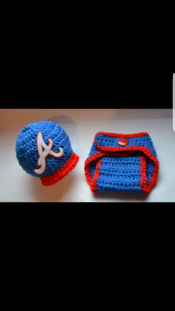 Atlanta Braves hat and diaper cover