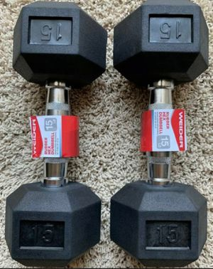 Dumbbells Pairs 15LB BRAND NEW Rubber Hex (30lbs total) for Sale in Kissimmee, FL