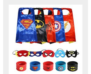 ECPARTY SUPERHEROS CAPE AND MASK MATCHING SLAP BRACELET COSTUME AND DRESS UP FOR KIDS PARTY for Sale in Rialto, CA