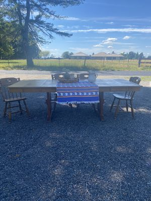 Wood Farmhouse Table (with leaves) + 4 chairs for Sale in Washougal, WA