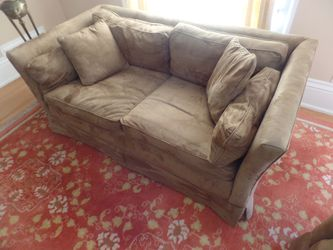 Two Cocoa Colored Ultra suede Love Seats With Three Matching Floor Pillows for Sale in Oakland,  CA