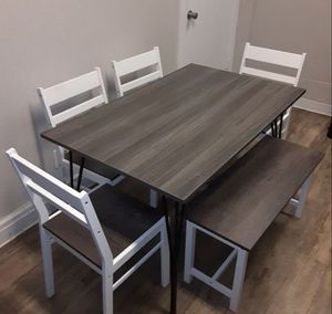 Grey and White Finish Wood Dining Table Set with Bench for Sale in Ontario, CA