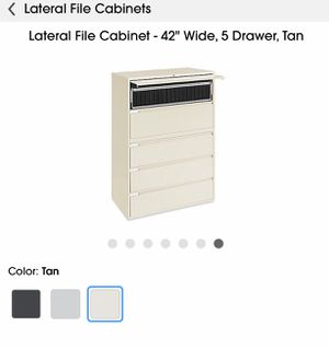 Lateral file cabinet, 5 drawers Tan. Can be use for home office or business. for Sale in Orlando, FL