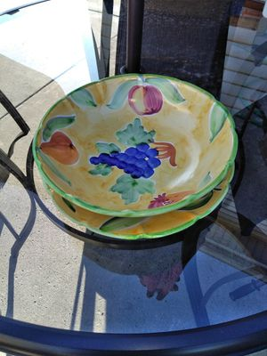 Large decorative fruit bowl & plate with bag of artificial fruit for Sale in Crestwood, IL