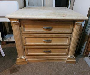 Lite wood 2 Drexel Heritage nite tables travertine tops 30hx38wx20d naples for Sale in Naples, FL