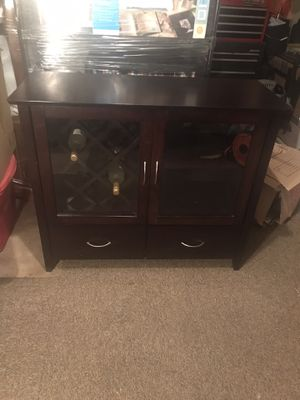 Dark wood buffet table with removable wine rack. for Sale in Mesa, AZ