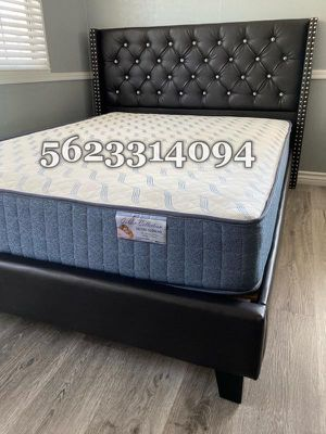 Queen Expresso Tufted Bed with Mattress Included for Sale in Clovis, CA