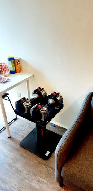 Adjustable dumbbells + stand 10_50 lbs for Sale in Culver City, CA