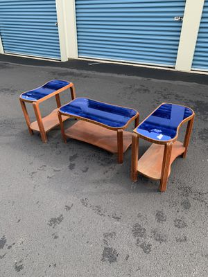 Art Deco blue glass table set for Sale in Bellefonte, PA