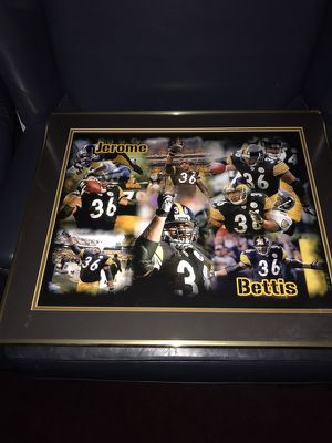 20 x 24 Framed in Black & Gold Jerome Bettie Career Collage! Excellent Piece for the Bus' Fan! Double Matted in Steeler Black & Vintage Gold Linen! for Sale in Fairfax, VA