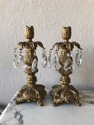 Antique Brass Candle holders with crystals for Sale in Plano, TX