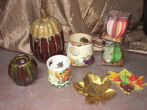 Lot of Thanksgiving, harvest & fall times: ceramic pumpkin, candle holders, leaf dishes, fruit memo notes... for Sale in El Mirage, AZ