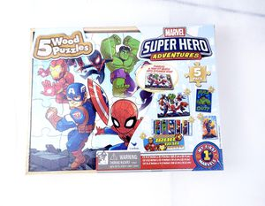 Marvel Super Hero Adventures 5 WOOD PUZZLES SET w/Tray & Storage Box~New Sealed for Sale in Humble, TX