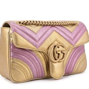 Gucci Chevron Quilted Leather Marmont Flap Messenger Bag Pink Gold for Sale in Hollywood, FL