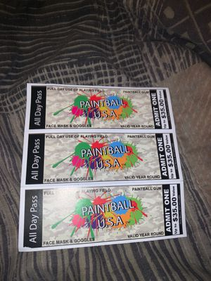 Paint Ball Tickets !! for Sale in Orlando, FL