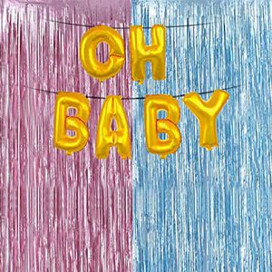 Gender Reveal Party Supplies, Tinsel Photo Backdrop Metallic Fringe Curtains Pink and Blue + Oh Baby Balloons Baby Shower Gender Reveal Decoration for Sale in Hacienda Heights, CA