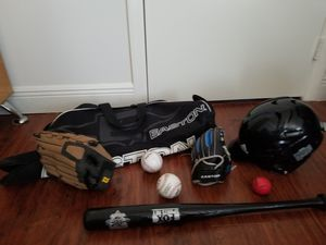 Baseball helmet, two gloves, bat, balls and bag for kids for Sale in Fort Lauderdale, FL