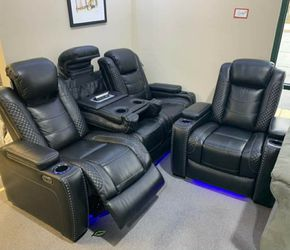🍒$39 Down 🍒 Best OFFER. Party Time Midnight LED Power Reclining Sofa with Adjustable Headrest for Sale in Beltsville,  MD