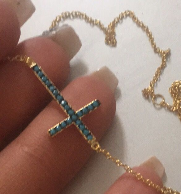 Gold plated solid silver cross necklace