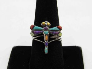Size 9 Sterling Silver Colorful Dragonfly Band Ring Vintage Statement Engagement Wedding Promise Anniversary Bridal Cocktail Friendship for Sale in Lynnwood, WA