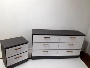 New Grey and white Dresser and one nightstand with Gold Handles for Sale in Pompano Beach, FL