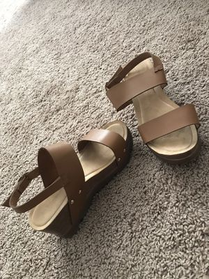 Brown wedge sandals for Sale in Bloomington, IL