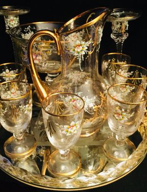 Custom Hand-Blown Murano Venetian Crystal Drinking Service Set with Gold Embellishments for Sale in Atlanta, GA