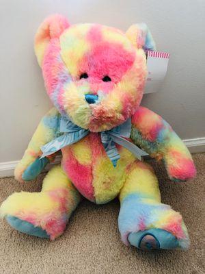 "Brand new 14"" Rainbow Teddy Bear Tie Dye Colorful Hug Fun Soft Cuddly Plush Stuffed Animal(pick up only) for Sale in Alexandria, VA"