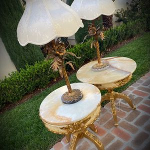 BEAUTIFUL Original Vintage Mid Century Modern MCM Gold Metal Floral Art Marble Base Lamps. Delivery Avail. for Sale in San Diego, CA