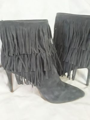 Size 11 suade heeled boots with fringe/tassels charcoal grey for Sale in Tacoma, WA