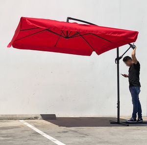 New $55 Red color 8'x8' ft Square Offset Patio Outdoor Hanging Umbrella with Crank lift and Cross Stand for Sale in South El Monte, CA